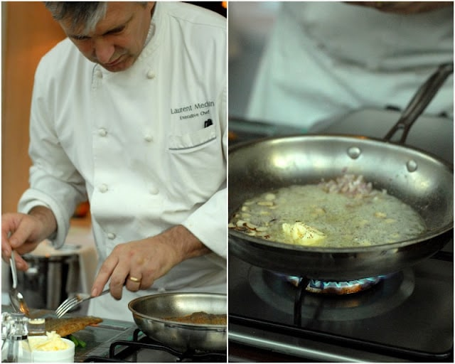 2 photo collage, Chef working in kitchen over a skillet and stovetop, sauteing shallots in butter in skillet on right