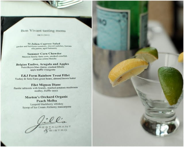 St. Julien Hotel's tasting menu (on right), empty cocktail glass with lime and lemon wedges on rim (on right)