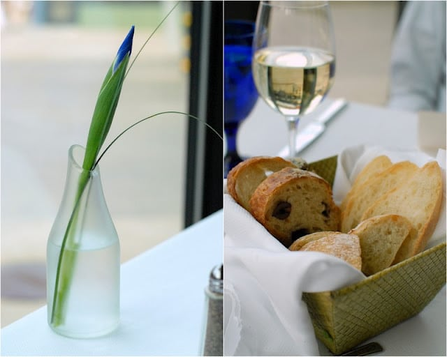 1 photo collage: iris flower in vase (left) basket of mixed breads on right