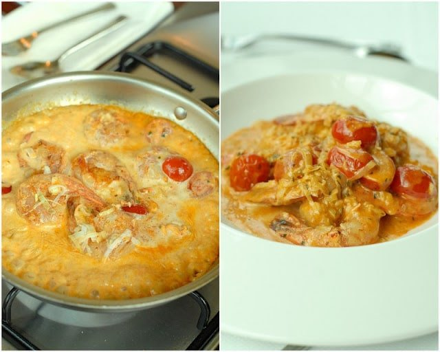 2 photo collage close up view of creamy shrimp dish in skillet on left, creamy shrimp dish in white bowl on the right