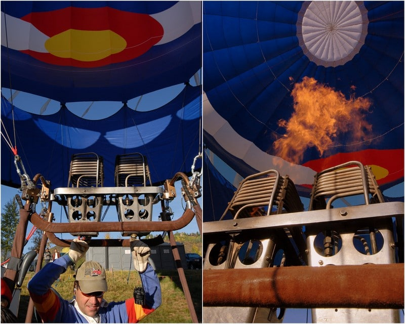 Flame inflation a hot air balloon