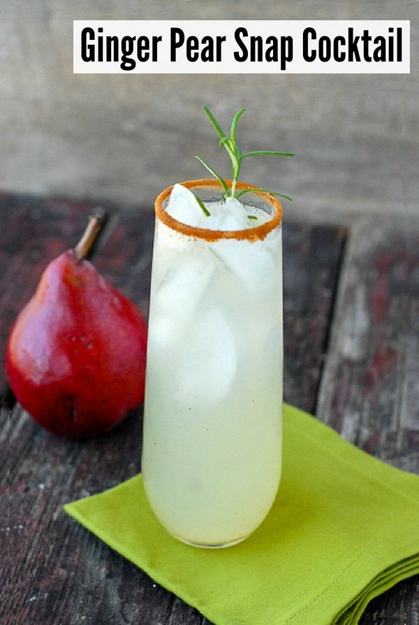 Ginger Pear Snap cocktail with red pear
