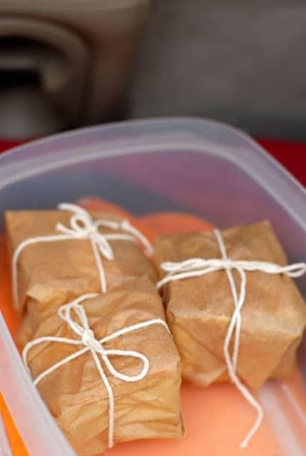 Parchment paper wrapped Corn Bread for Big Red Barn Chili BoulderLocavore.com