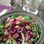 Arugula Apple-Beet Candied Pecan Salad