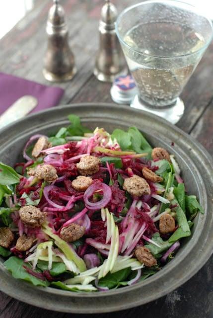 Arugula Apple-Beet Candied Pecan Salad | BoulderLocavore.com