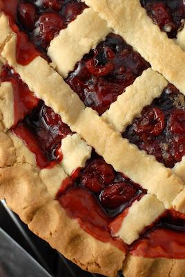 A close up of cherry pie