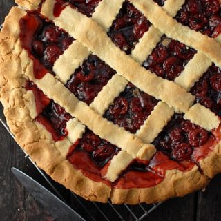 The Best President's Birthday Cherry Pie with a lattice top crust