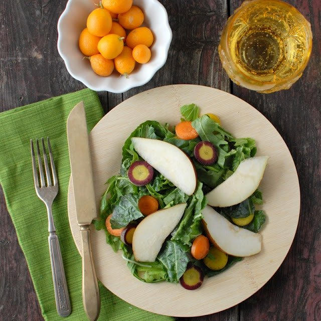 Spicy Mustard Mint Mizuna Salad with Tangerine-Balsamic Vinaigrette Dressing recipe | BoulderLocavore.com