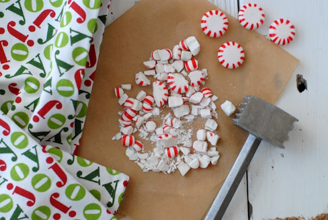 smashed candy canes with hammer