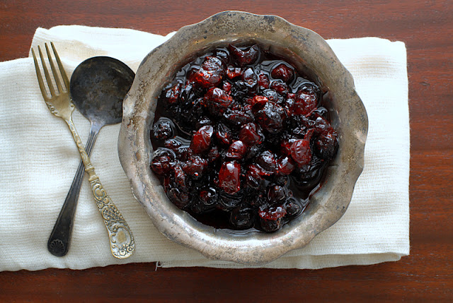 brandied cranberries in a silver bowl