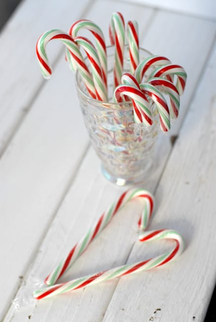 candy canes in a glass