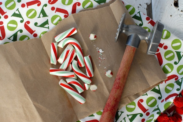 broken candy canes with hammer