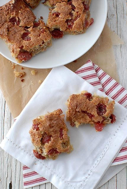 cherry bars on a plate