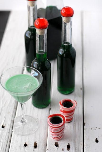 homemade creme de menthe liqueur and cocktail