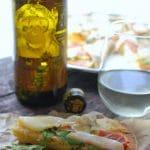 GF Pear Proscuitto Arugula Pizza and The Infinite Monkey Theorem's Sauvignon Blanc