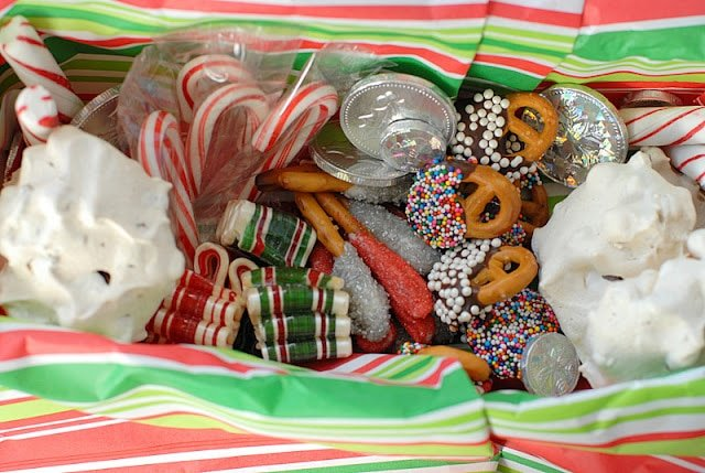 homemade holiday treats and candy in box
