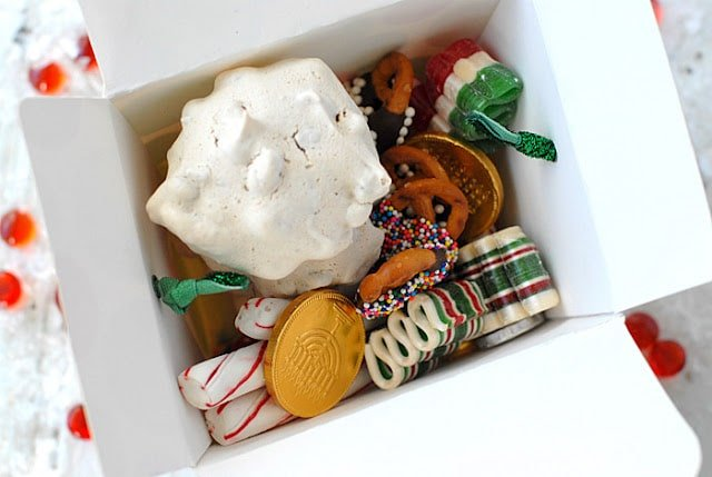 A box filled with different types of food, with Chocolate and Peppermint