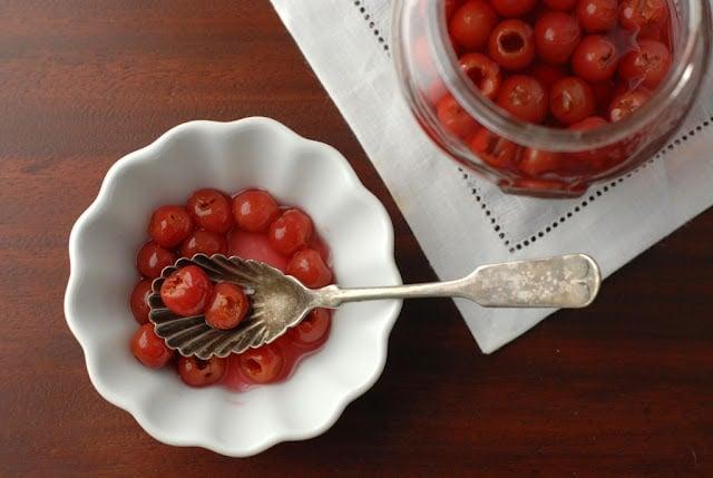 A bowl of Maraschino cherries