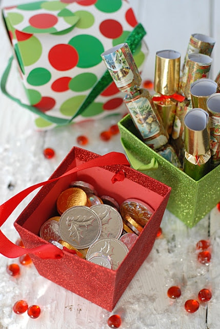 chocolate coins and mini holiday poppers