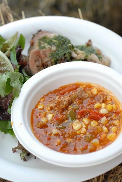 roast pig with salsa verde and pork stew