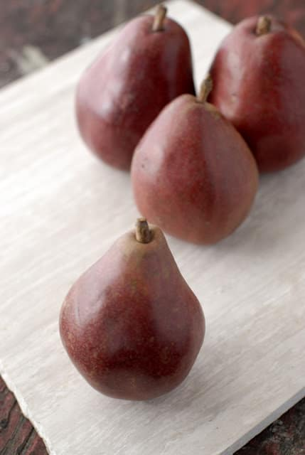 red pears on table