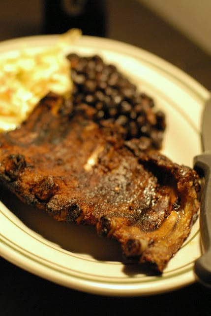bbq ribs and beans on plate