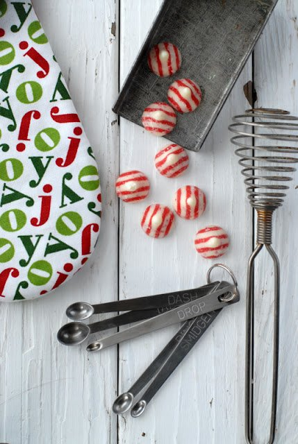 vintage kitchen utensils and striped candy kisses