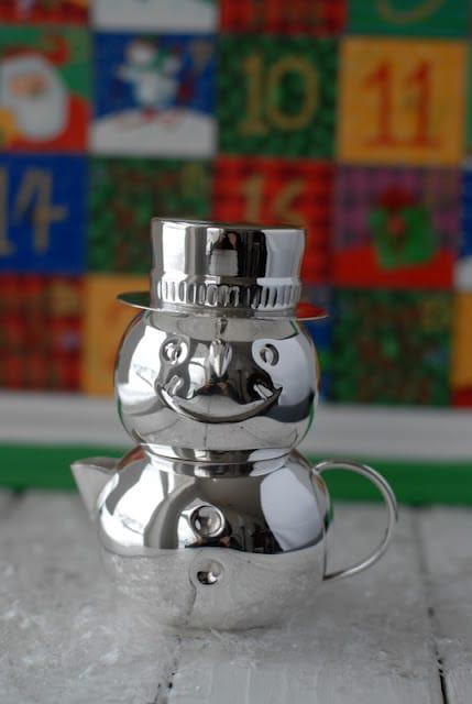silver snowman coffee creamer and sugar set