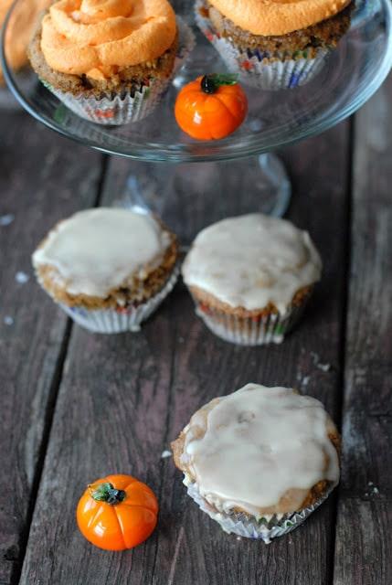 pumpkin cupcakes with bourbon orange glaze