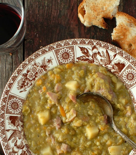 A close up of Soup and Ham