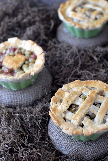 close up of miniature gooseberry pies