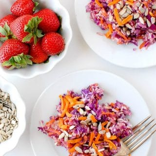 Crunchy Confetti Slaw with Strawberry-Peach Balsamic Dressing on white plates