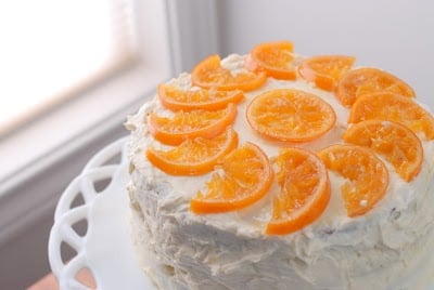 3 Layer Gluten-Free Orange-Cardamom Cake with Cream-Cheese Cointreau Frosting and Candied Orange Slices | BoulderLocavore.com