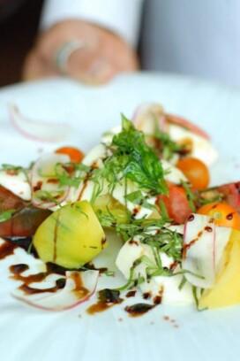 close up of caprese salad at restaurant