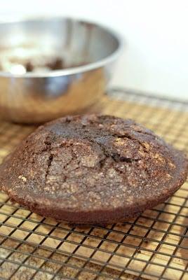SSmoking Volcano Cake - metal bowl cake baked