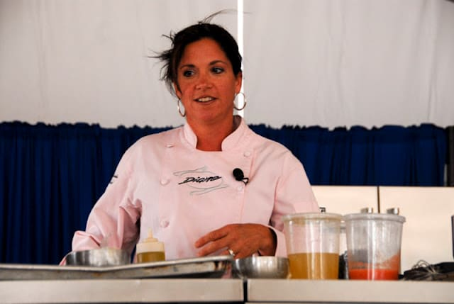 A person preparing food inside of it, with Celebrity chef