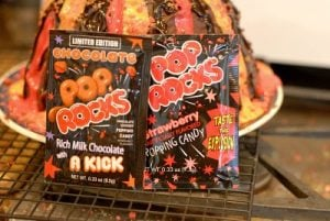 Smoking Volcano Cake - pop rocks used on cake 'lava' frosting