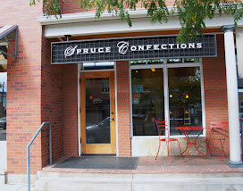 front of Spruce Confections shop in North Boulder CO