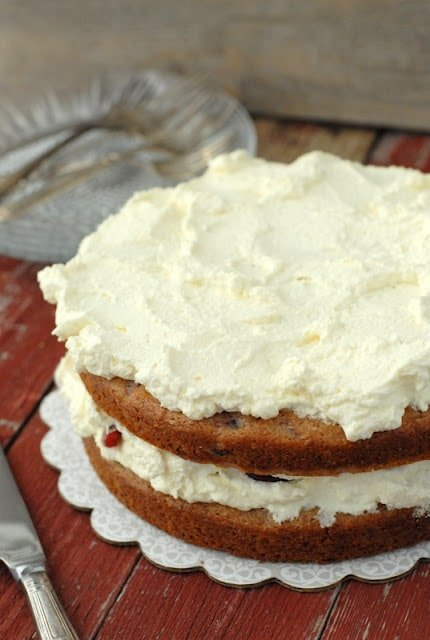 sour cream cherry cake with whipped cream