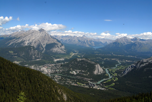 View of Banff Canada from mountains above
