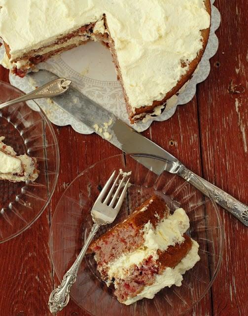 cherry cake layer cake with slice