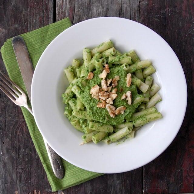 Kale Walnut Meyer Lemon Pesto with Brown Rice Penne #glutenfree | BoulderLocavore.com