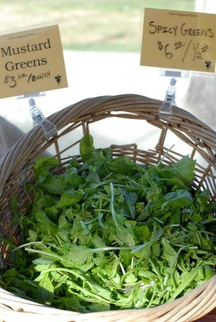fresh greens in basket