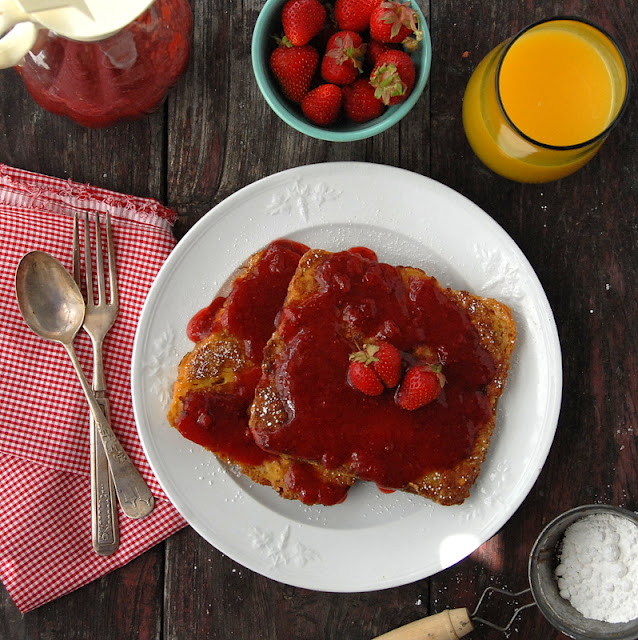 Peanut Butter French Toast and Homemade Organic Strawberry Syrup
