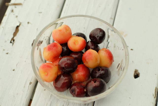 mixed cherries in a glass bowl