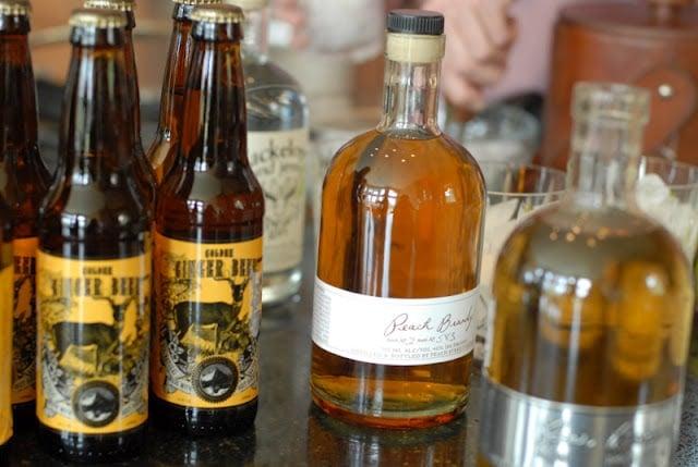 A bottles of soda and liquor