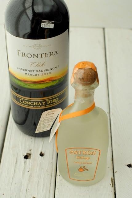 bottle of wine and orange liqueur