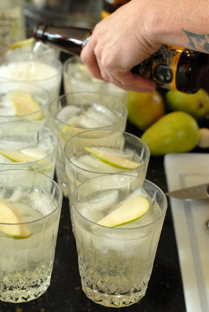 ginger pear cocktail in glasses