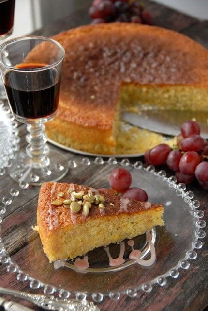 slice of olive oil cake with port glaze