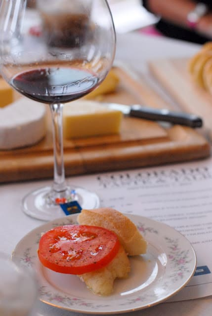 A plate with a glass of wine, with Viognier